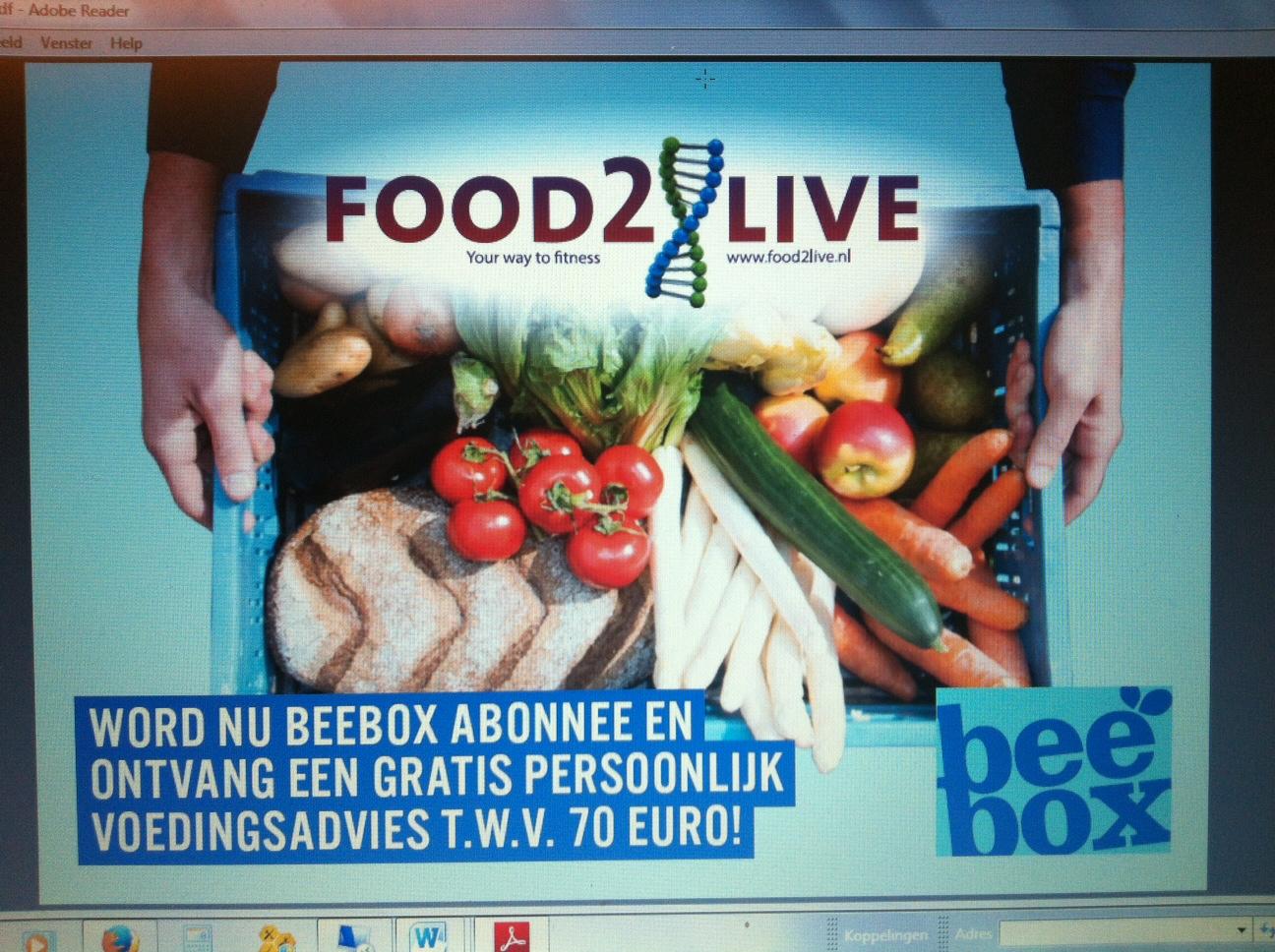 Beebox &, Food2live : Biologische voeding binnen handbereik